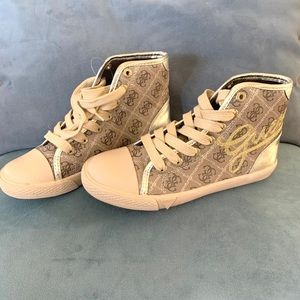 Guess high top gold sneakers